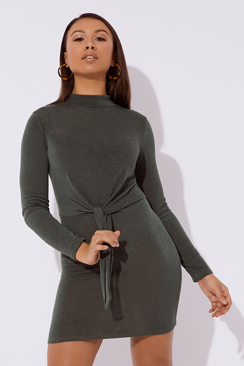 khaki knitted tie front mini dress