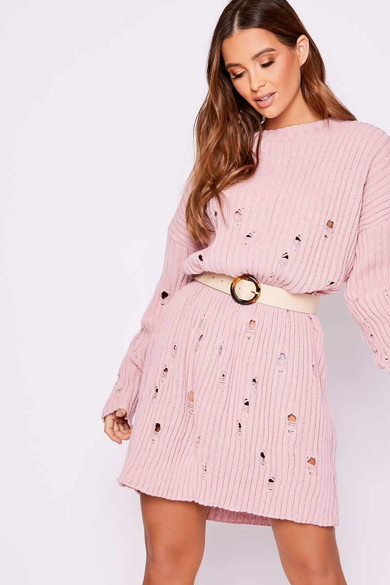 pink distressed oversized knitted jumper dress