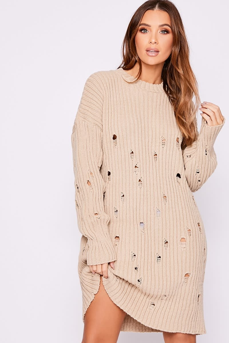 stone distressed oversized knitted jumper dress