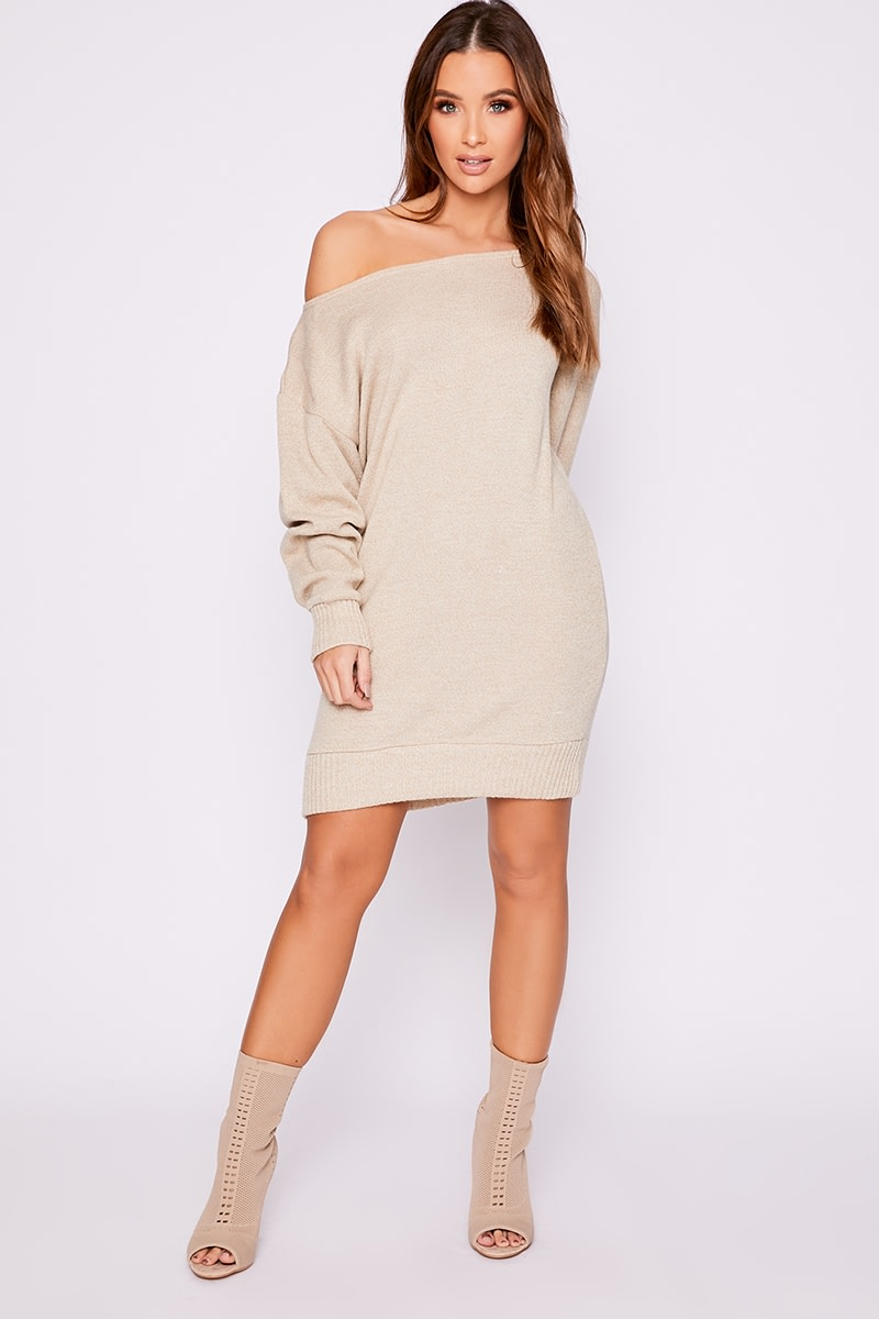 stone slash neck knitted jumper dress