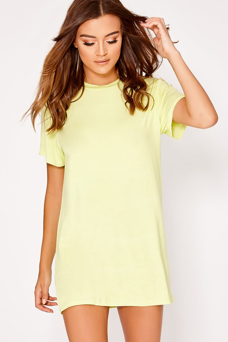 BASIC LIME JERSEY T SHIRT DRESS