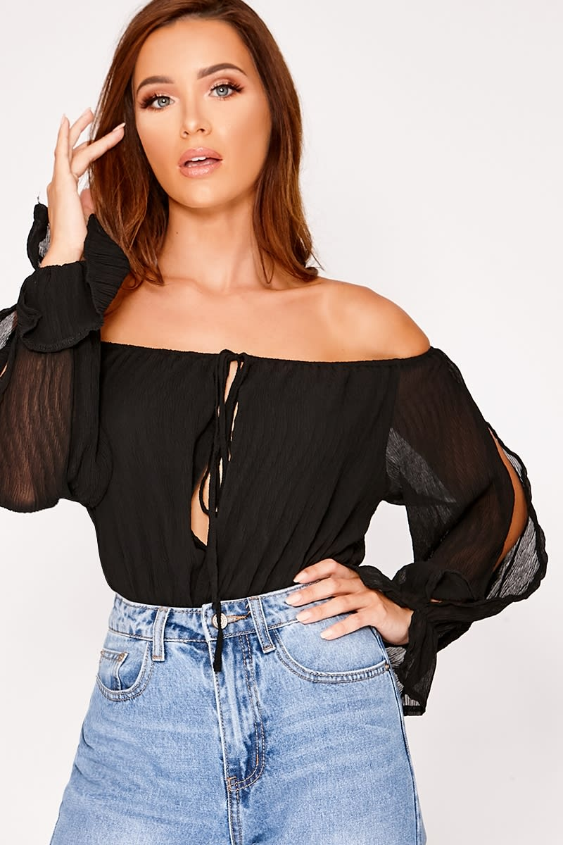 black cheesecloth split sleeve bardot bodysuit