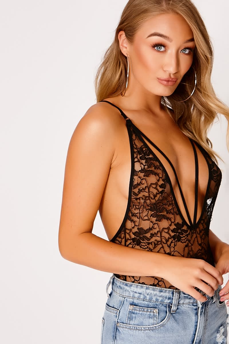 HANNAHJO BLACK LACE HARNESS PLUNGE BODYSUIT