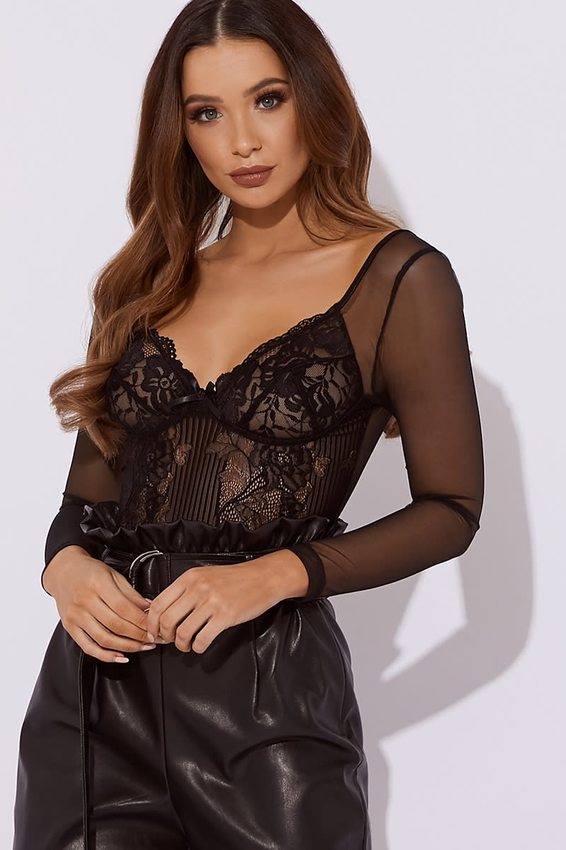 black lace with mesh sleeve bodysuit