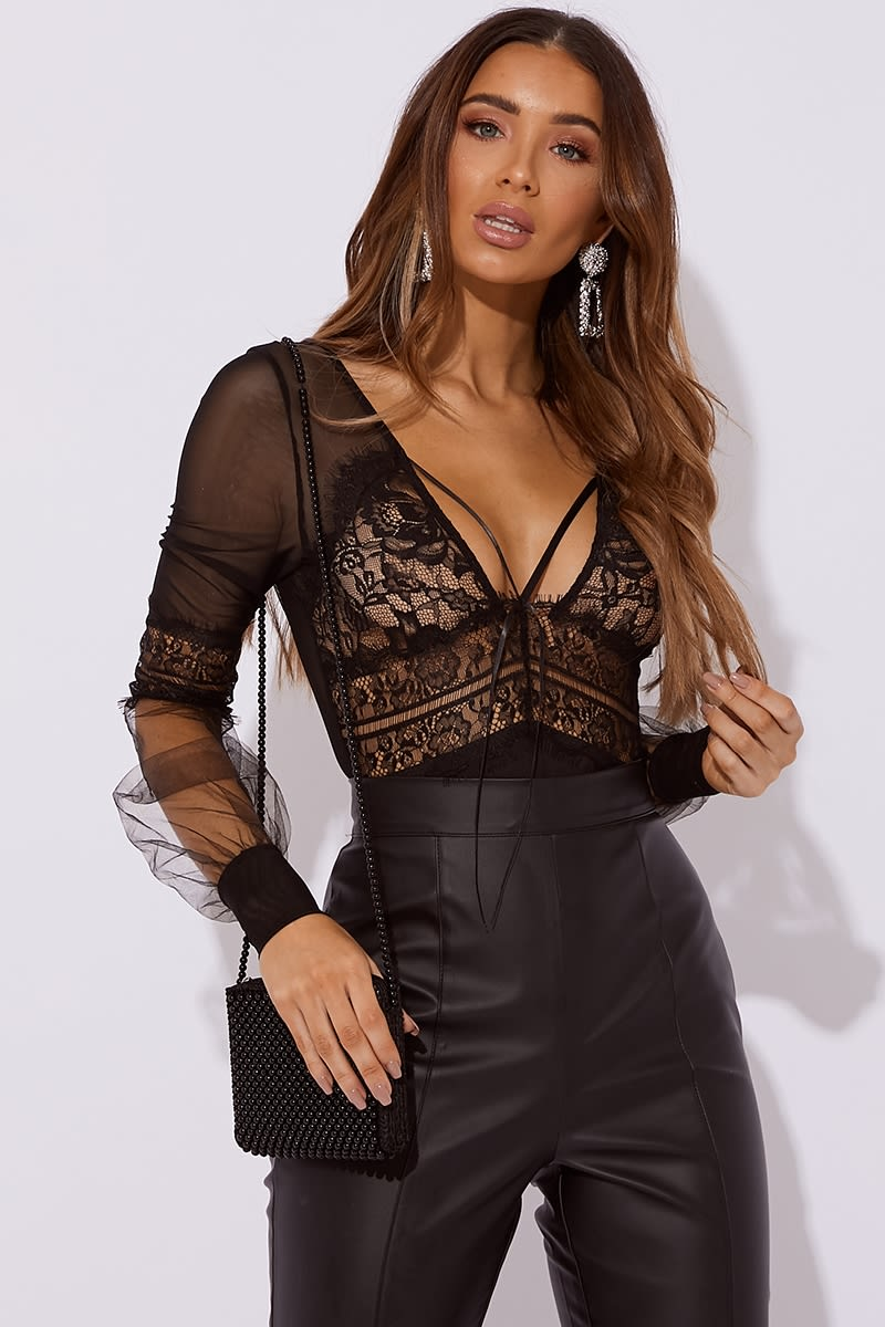 lace & mesh balloon sleeve bodysuit