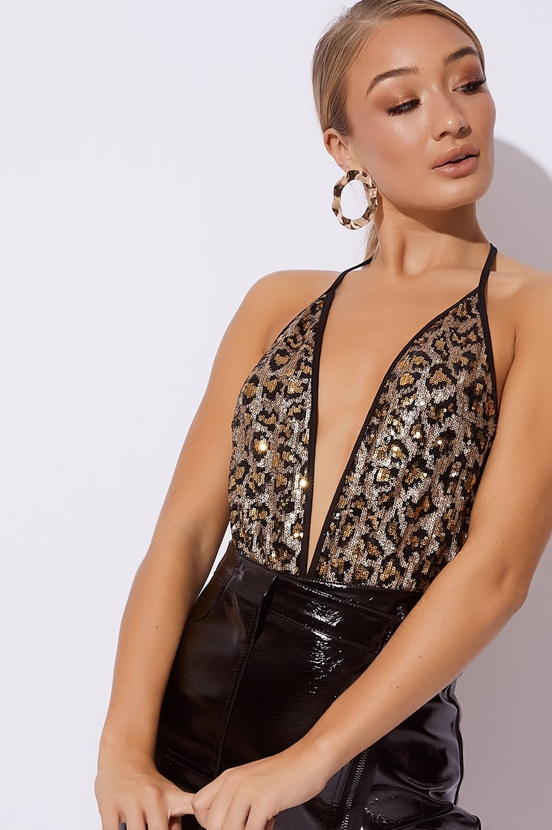 leopard sequin halterneck bodysuit