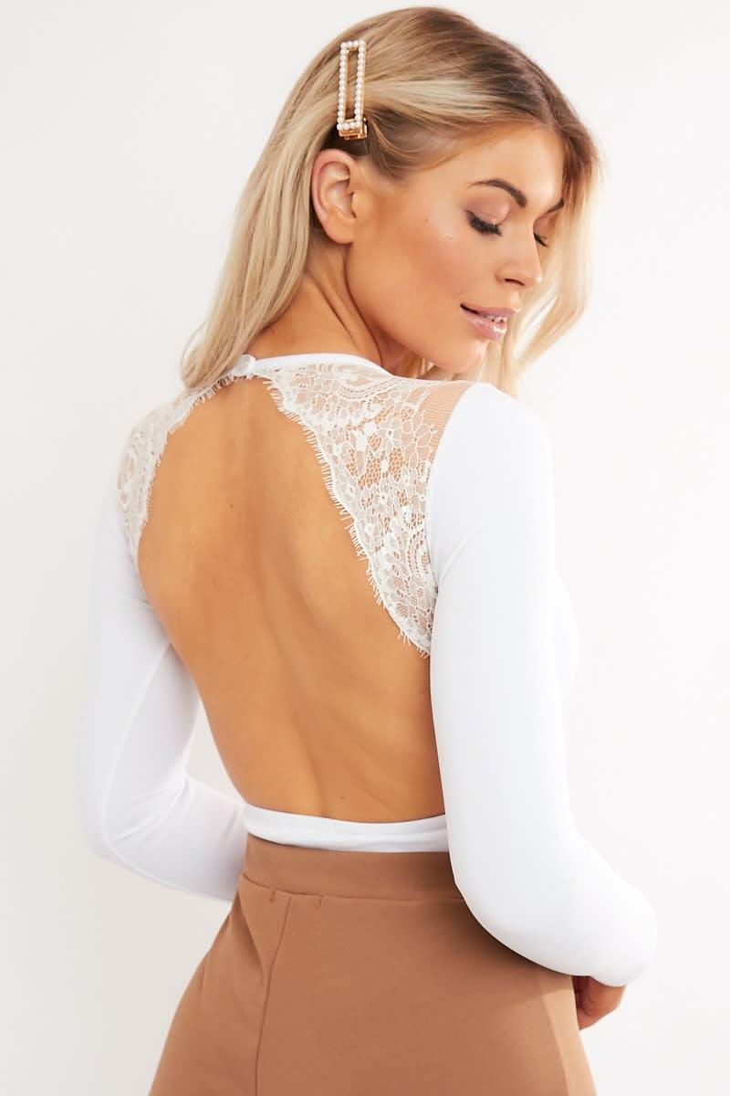 white lace detail open back bodysuit