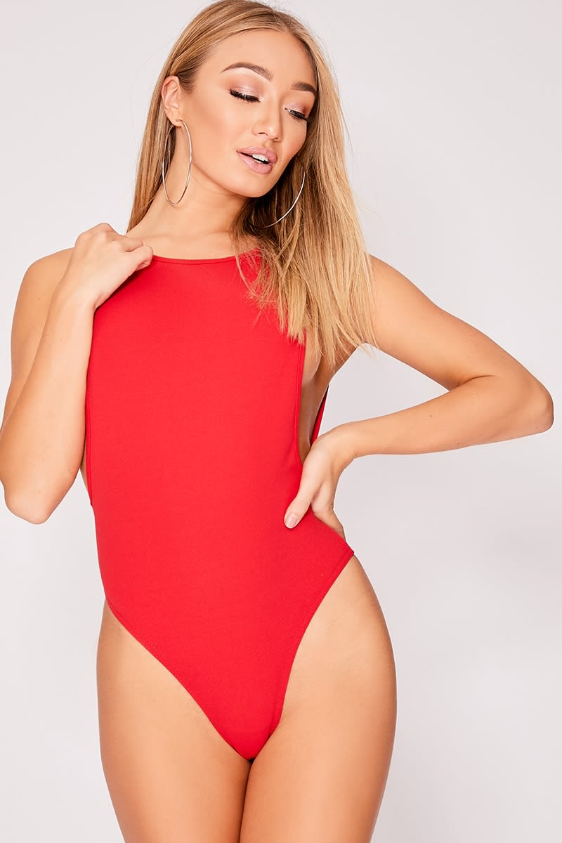 IVETTE RED CREPE SCOOP BACK BODYSUIT