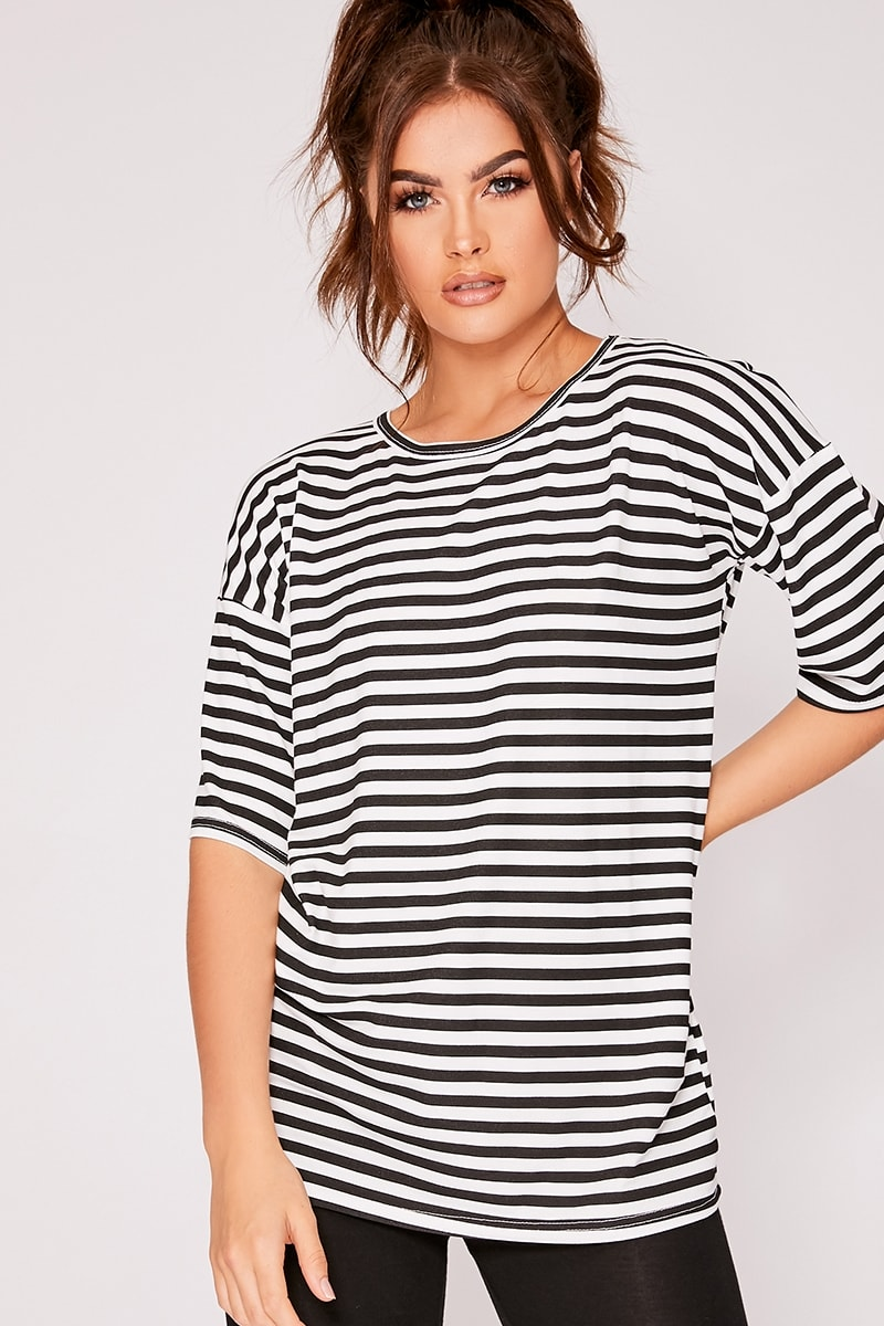 black and white stripe oversized t-shirt