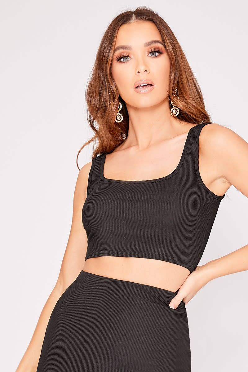 black scoop neck ribbed co-ord crop top