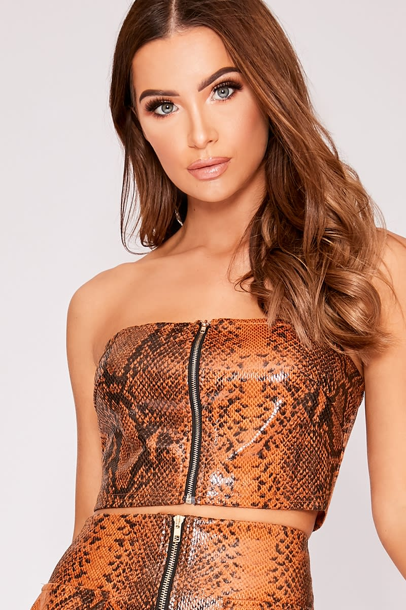 brown pu snake print bandeau co-ord crop top
