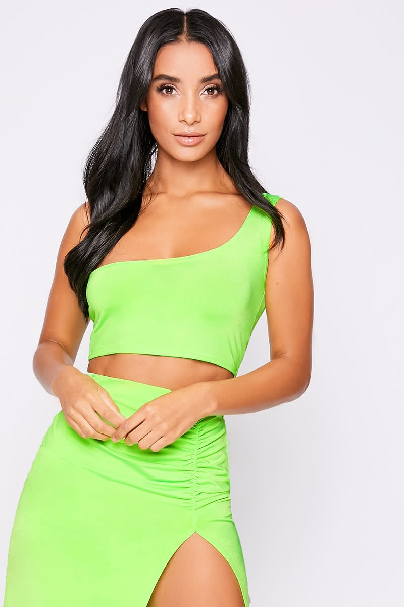 neon lime one shoulder co-ord crop top