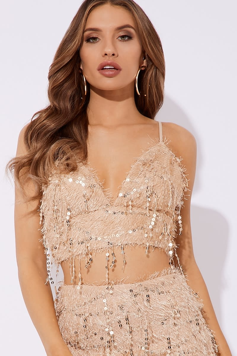 nude fluffy sequin co-ord bralet