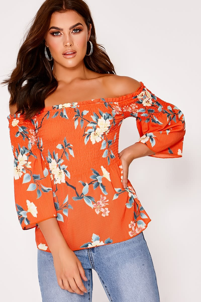 MARCEA ORANGE FLORAL SHIRRED BARDOT TOP