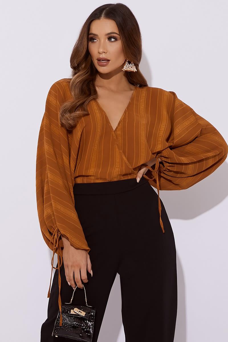 camel wrap batwing crop blouse