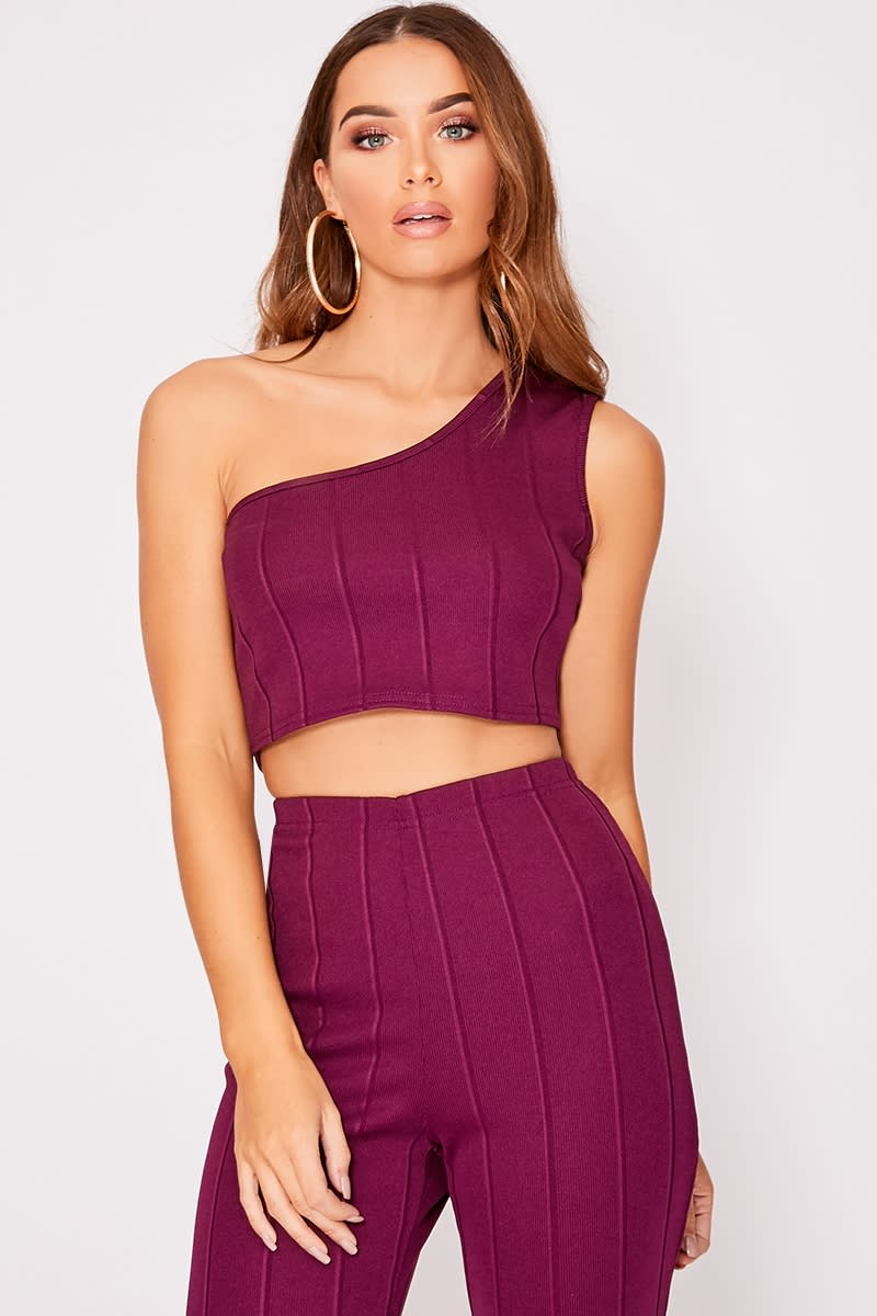 plum one shoulder bandage crop top