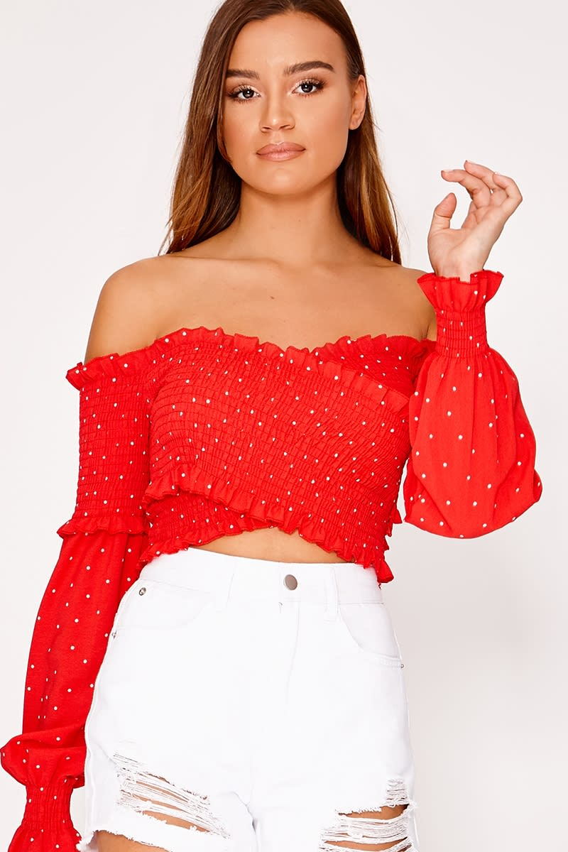 IVANKA RED SHIRRED POLKA DOT LONG SLEEVE BARDOT TOP