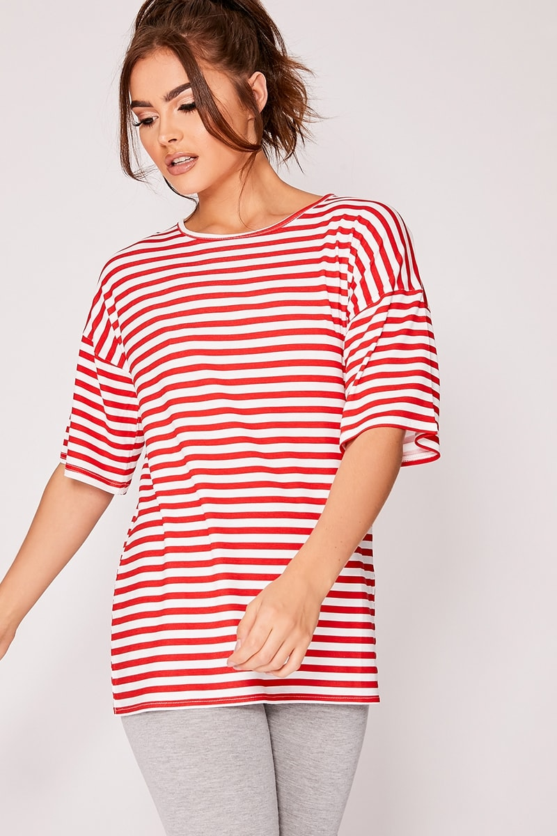 red and white stripe oversized t-shirt