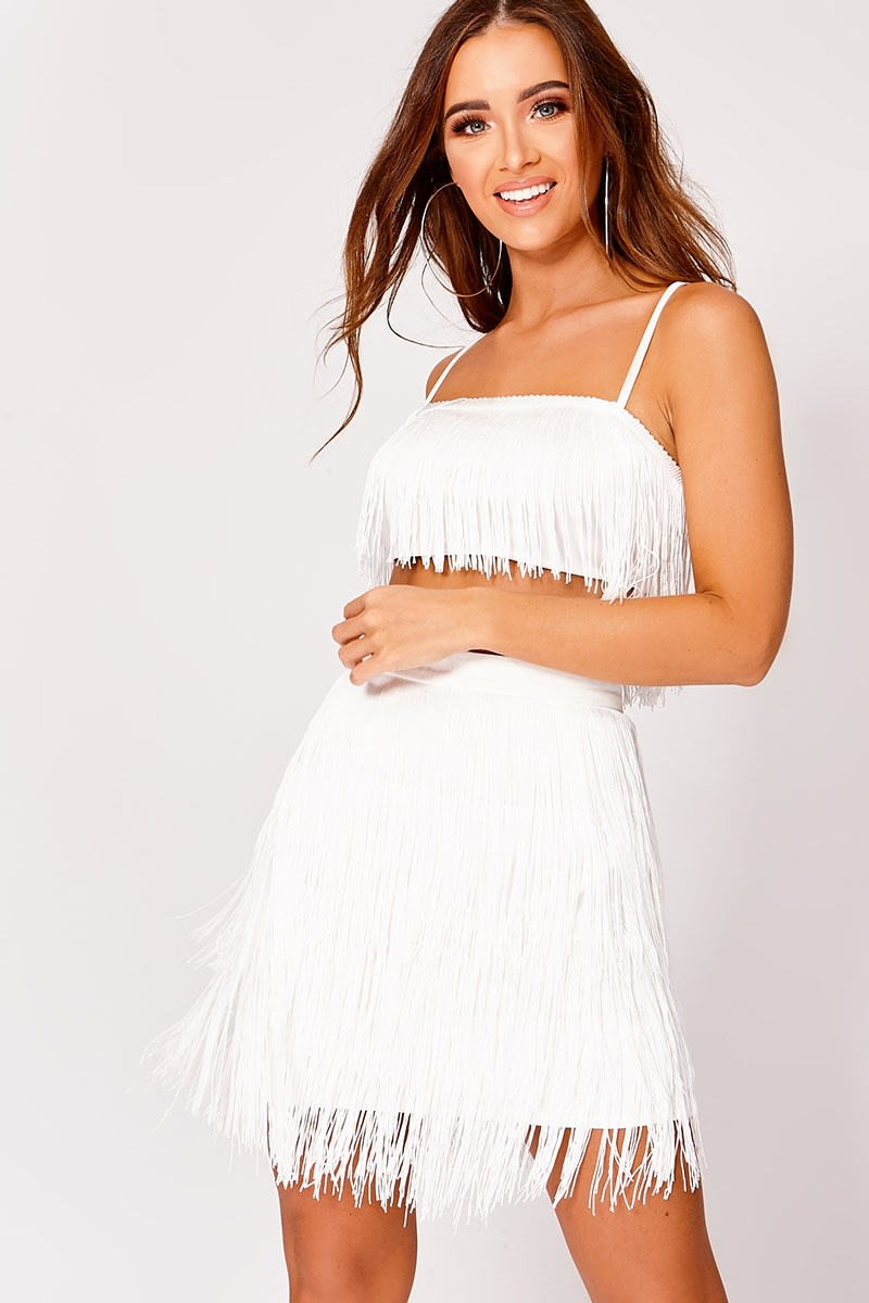 white tassel co-ord crop top