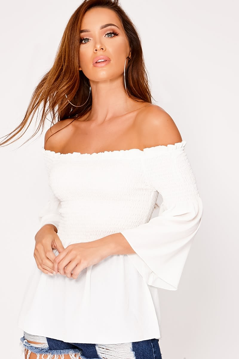 MARCEA WHITE SHIRRED BARDOT TOP
