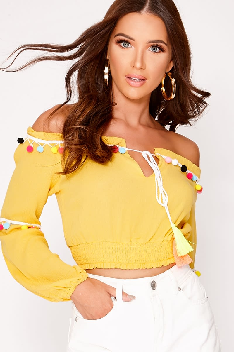 MALLOREY YELLOW POM POM BARDOT CROP TOP