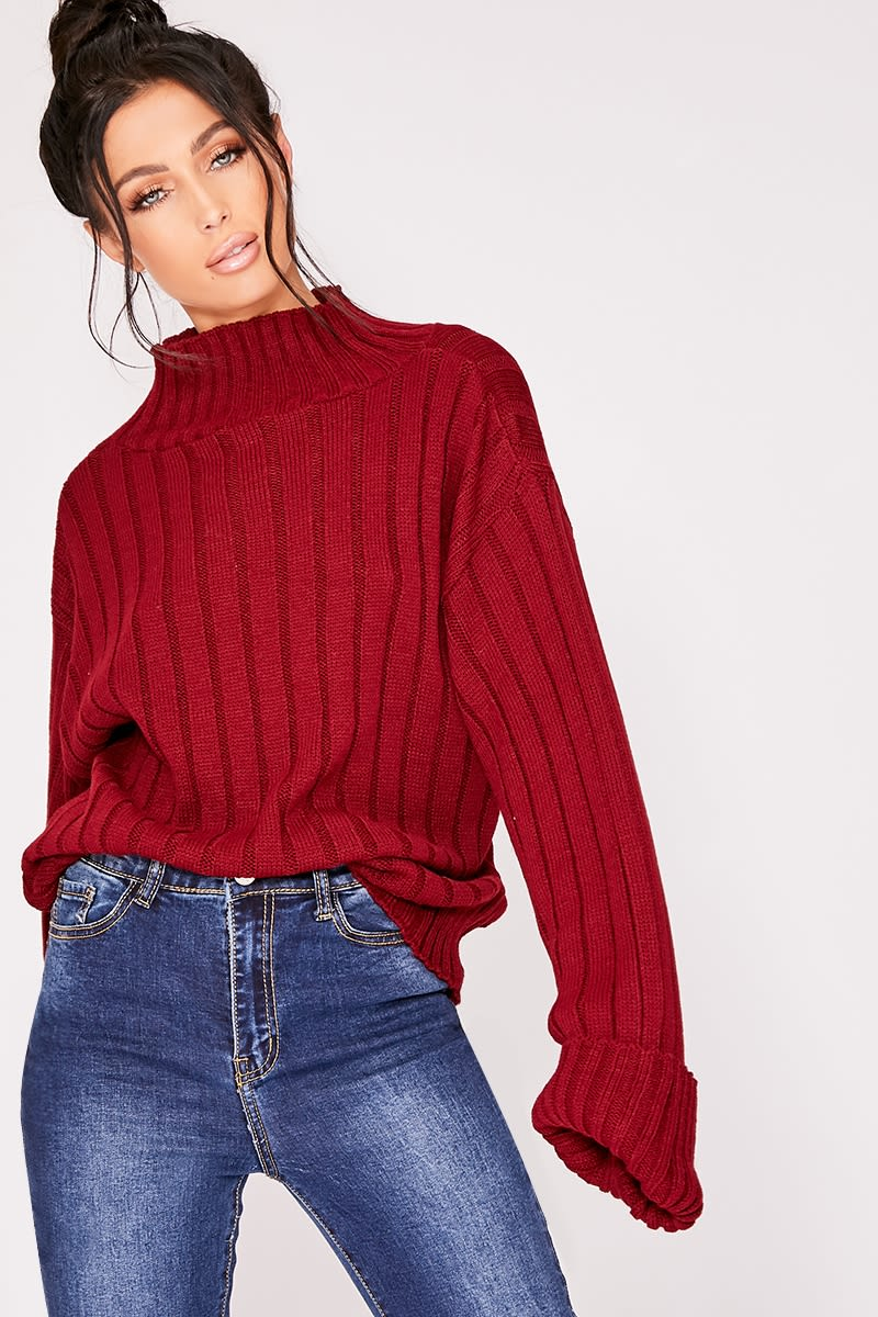 burgundy chunky knit high neck jumper