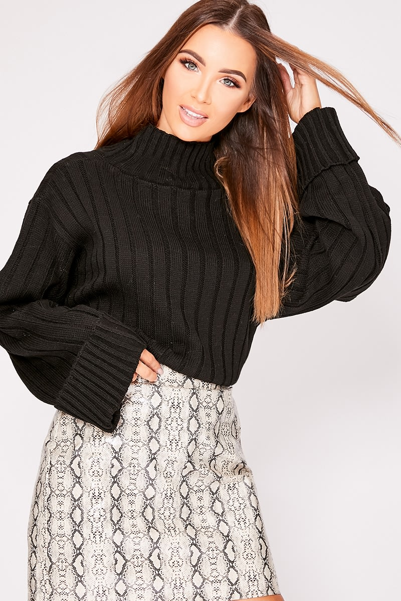 black chunky knit high neck jumper