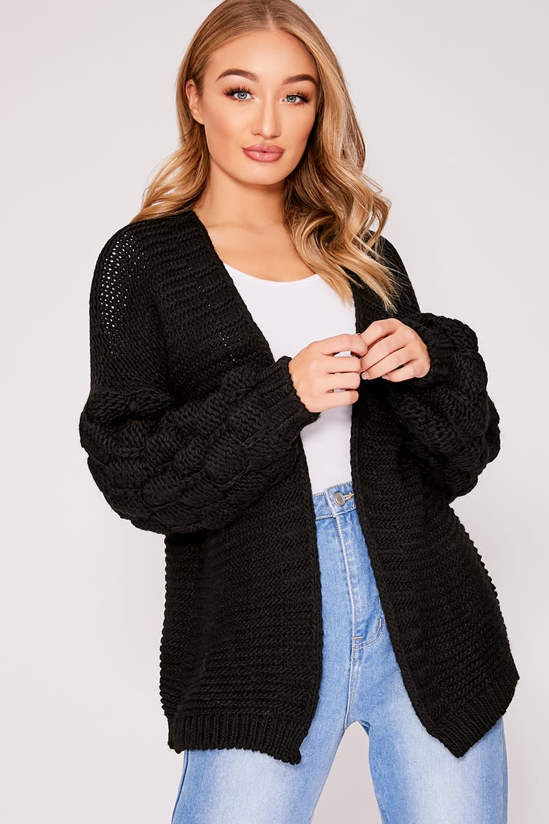 black bobble knit cardigan