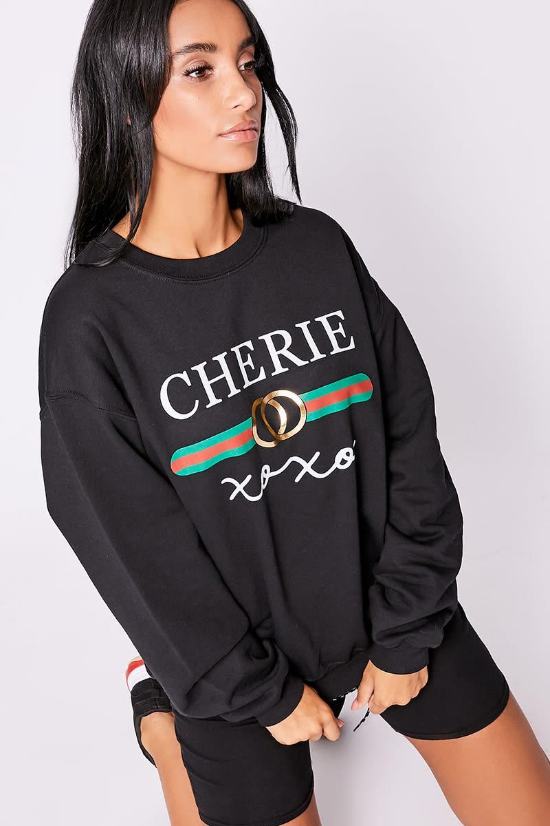xoxo black slogan sweatshirt