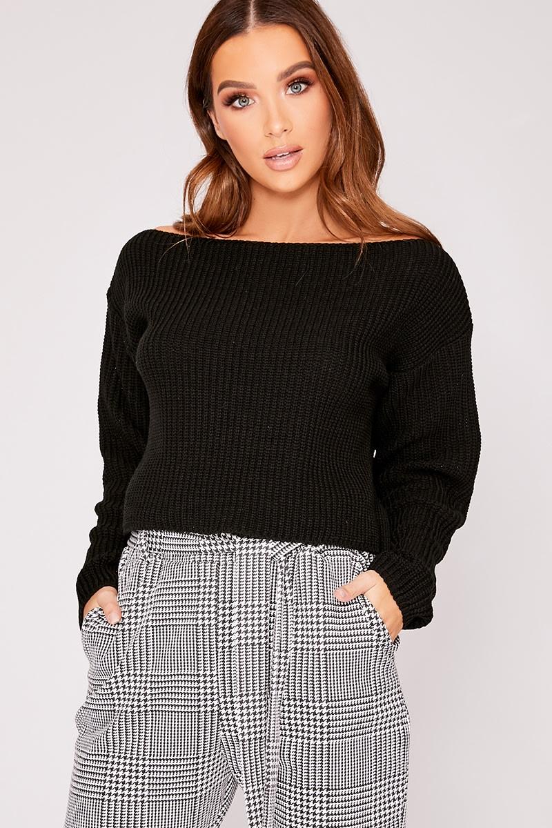black slash neck cropped knitted jumper