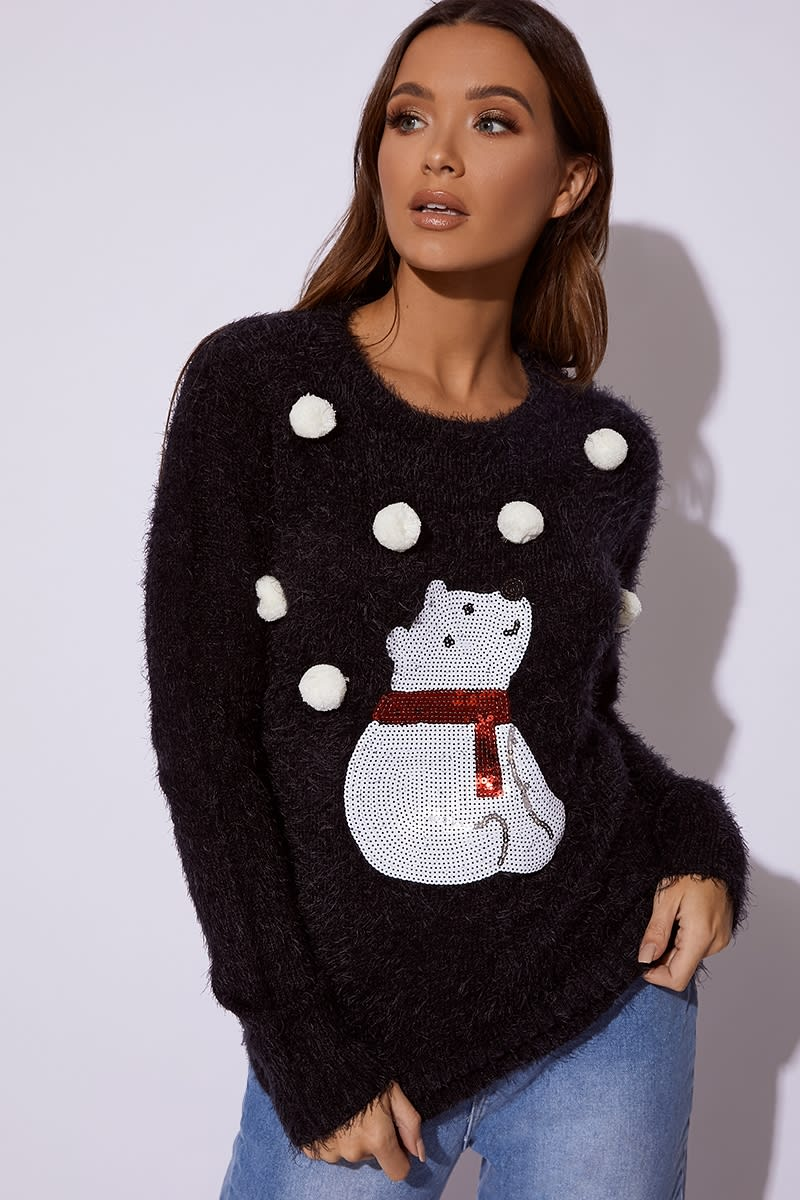 BLACK FLUFFY POLAR BEAR POM POM CHRISTMAS JUMPER