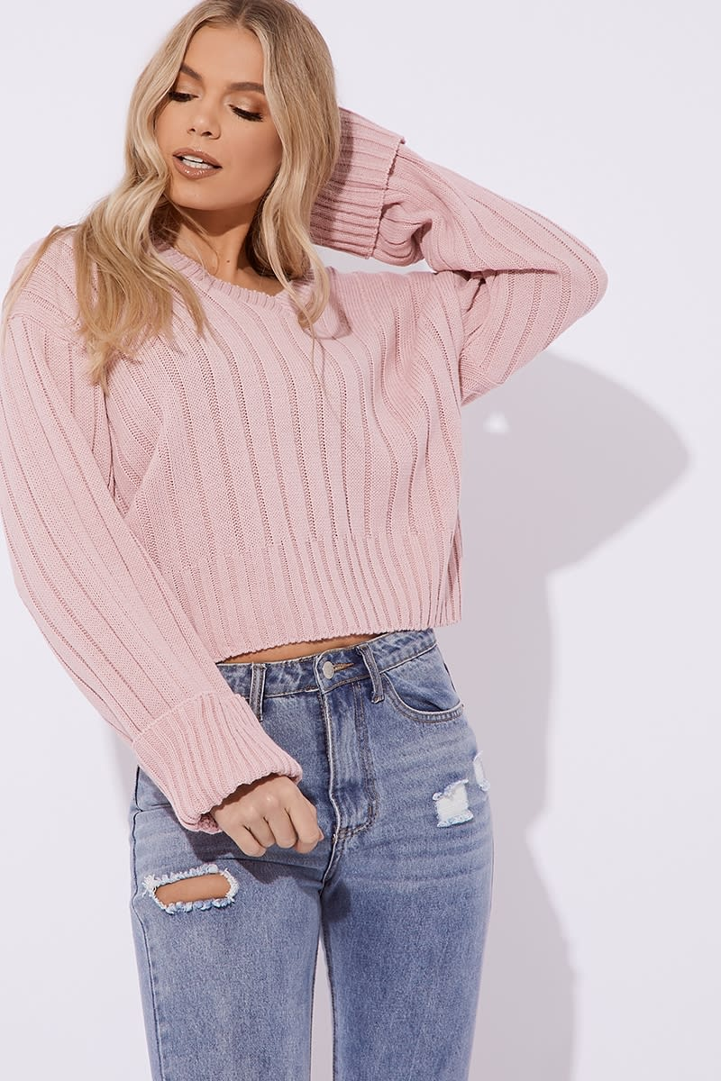 blush v neck oversized ribbed jumper