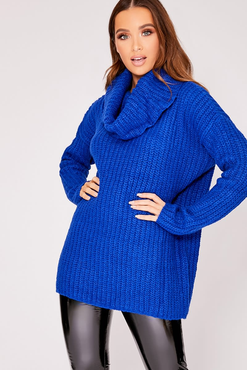blue oversized knitted roll neck jumper