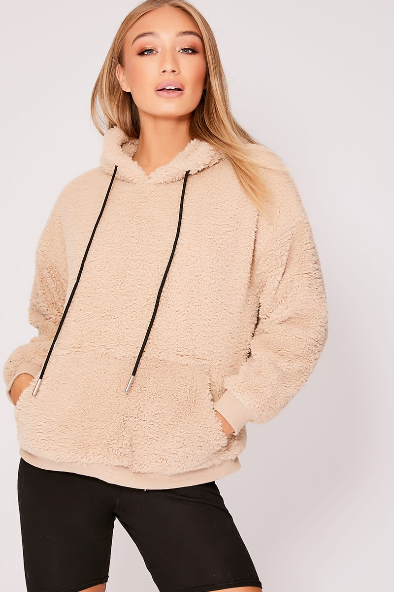 camel teddy fur hooded jumper