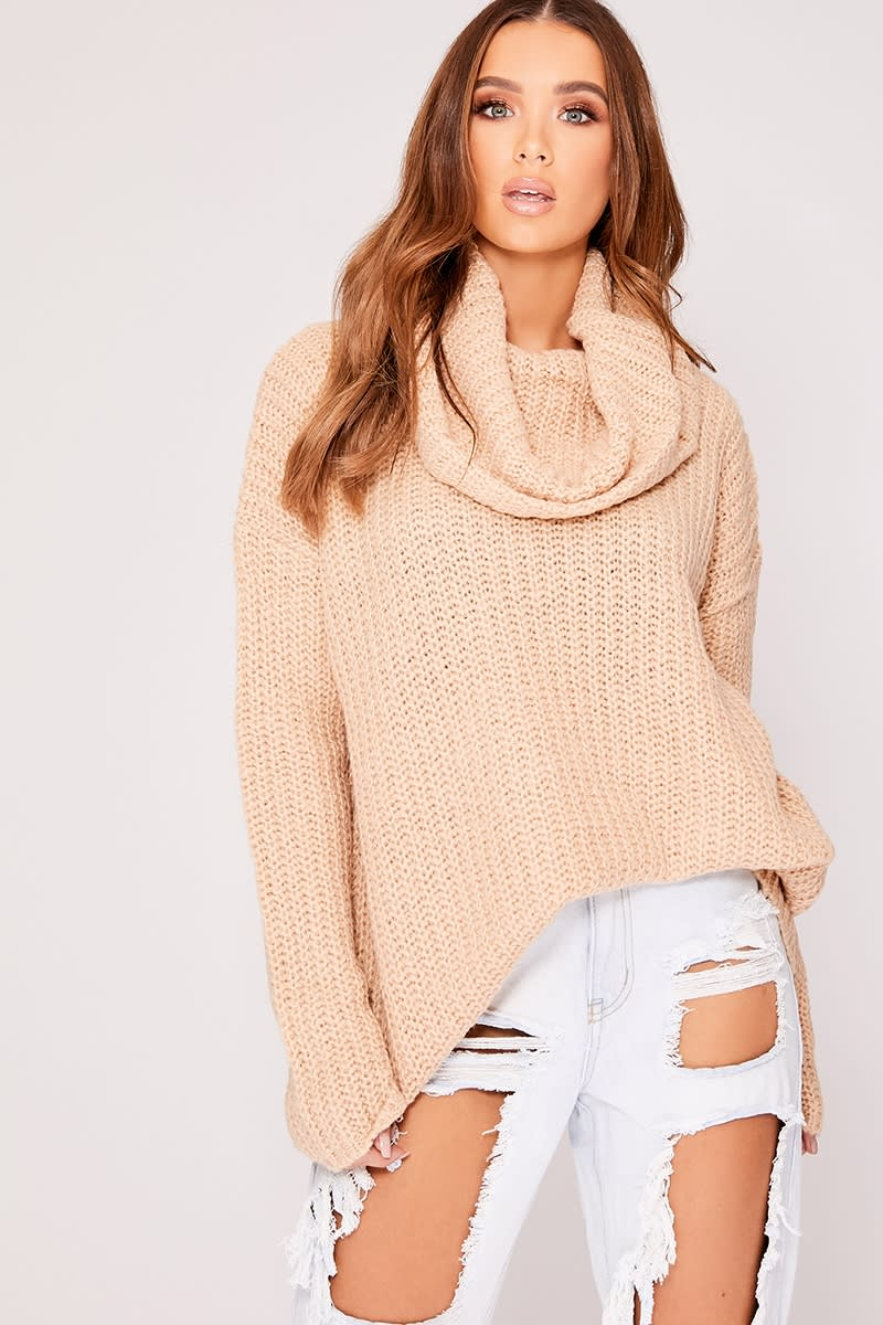 camel oversized knitted roll neck jumper
