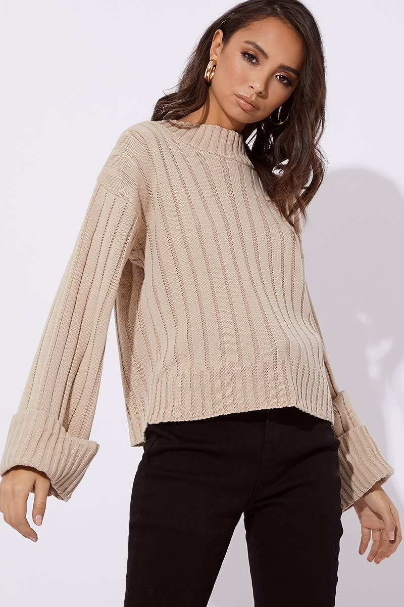 camel ribbed high neck slouchy jumper