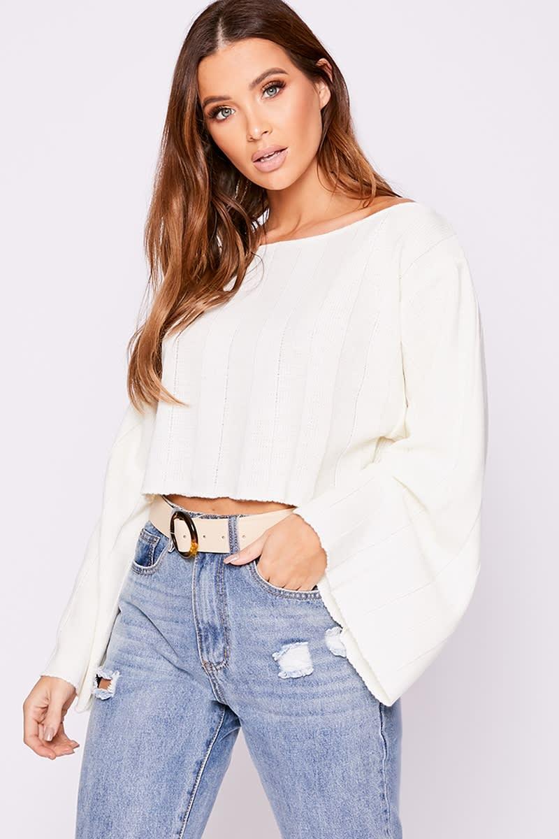cream wide sleeve off the shoulder jumper