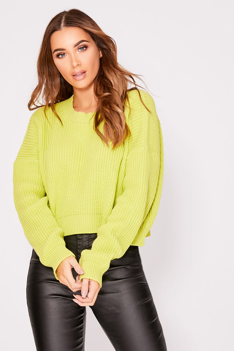 lime crew neck basic cropped jumper