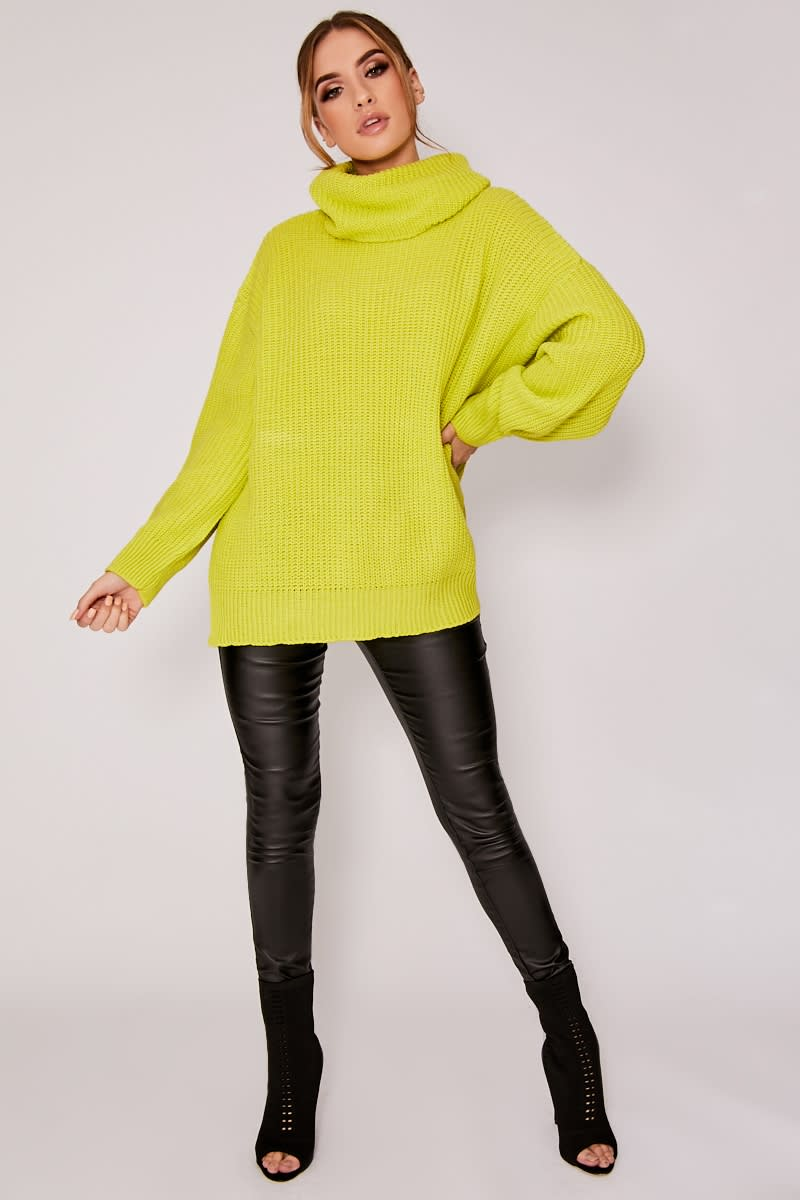 lime roll neck oversized knitted jumper
