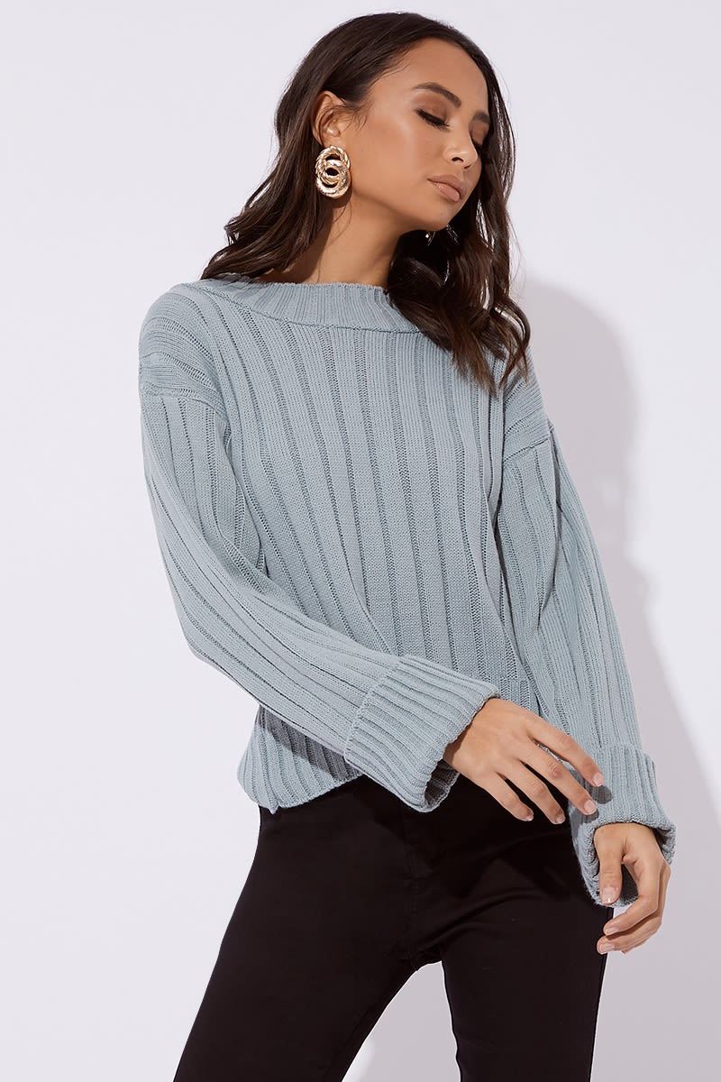 sage green ribbed high neck slouchy jumper