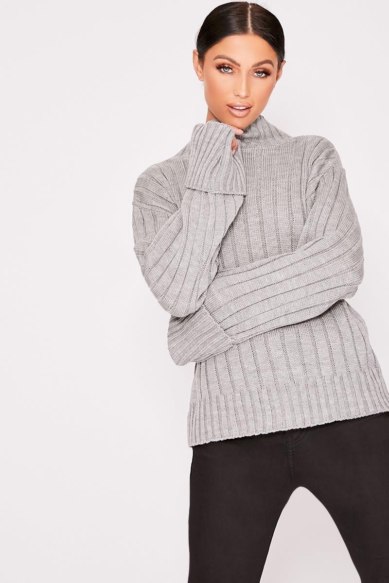 grey chunky knit high neck jumper