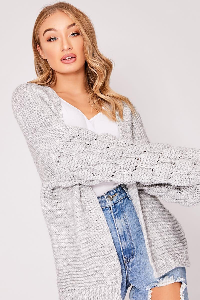 grey bobble knit cardigan