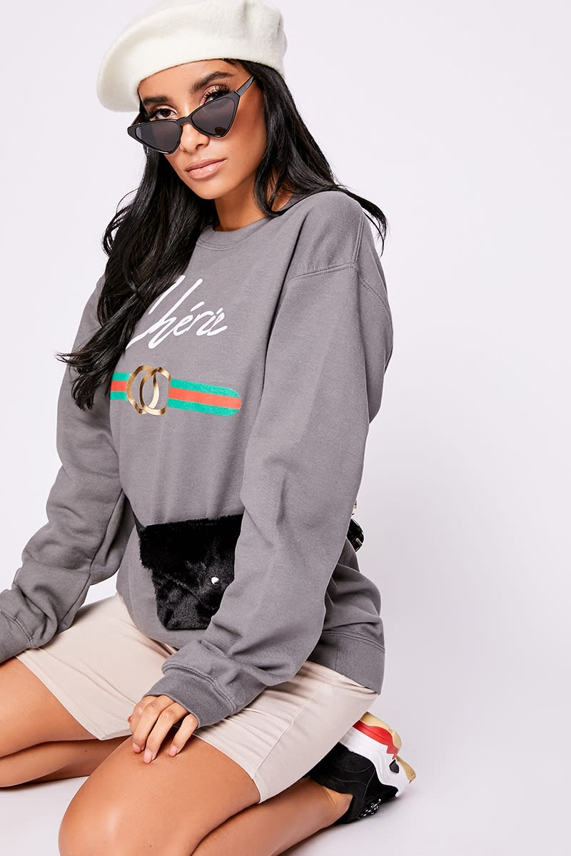 grey slogan sweatshirt