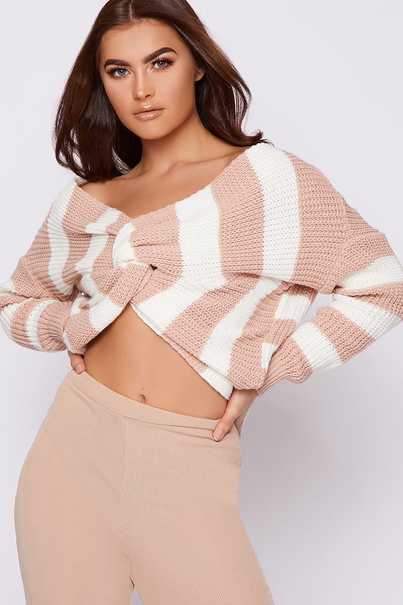 cream and nude stripe twist back jumper