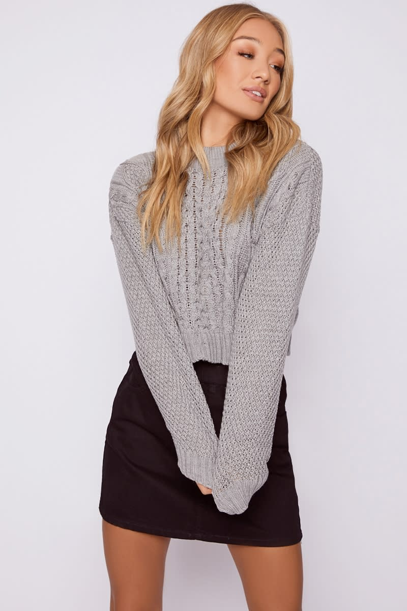 grey cable knit cropped jumper