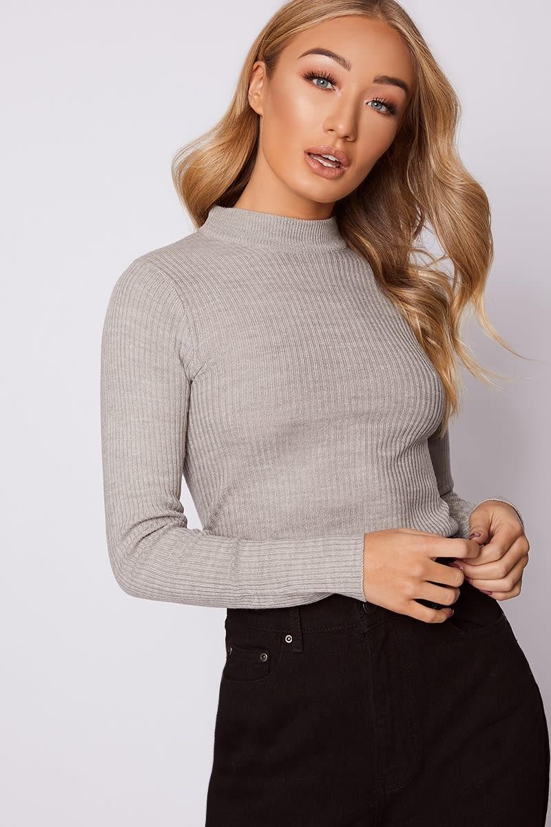 grey ribbed knit roll neck jumper