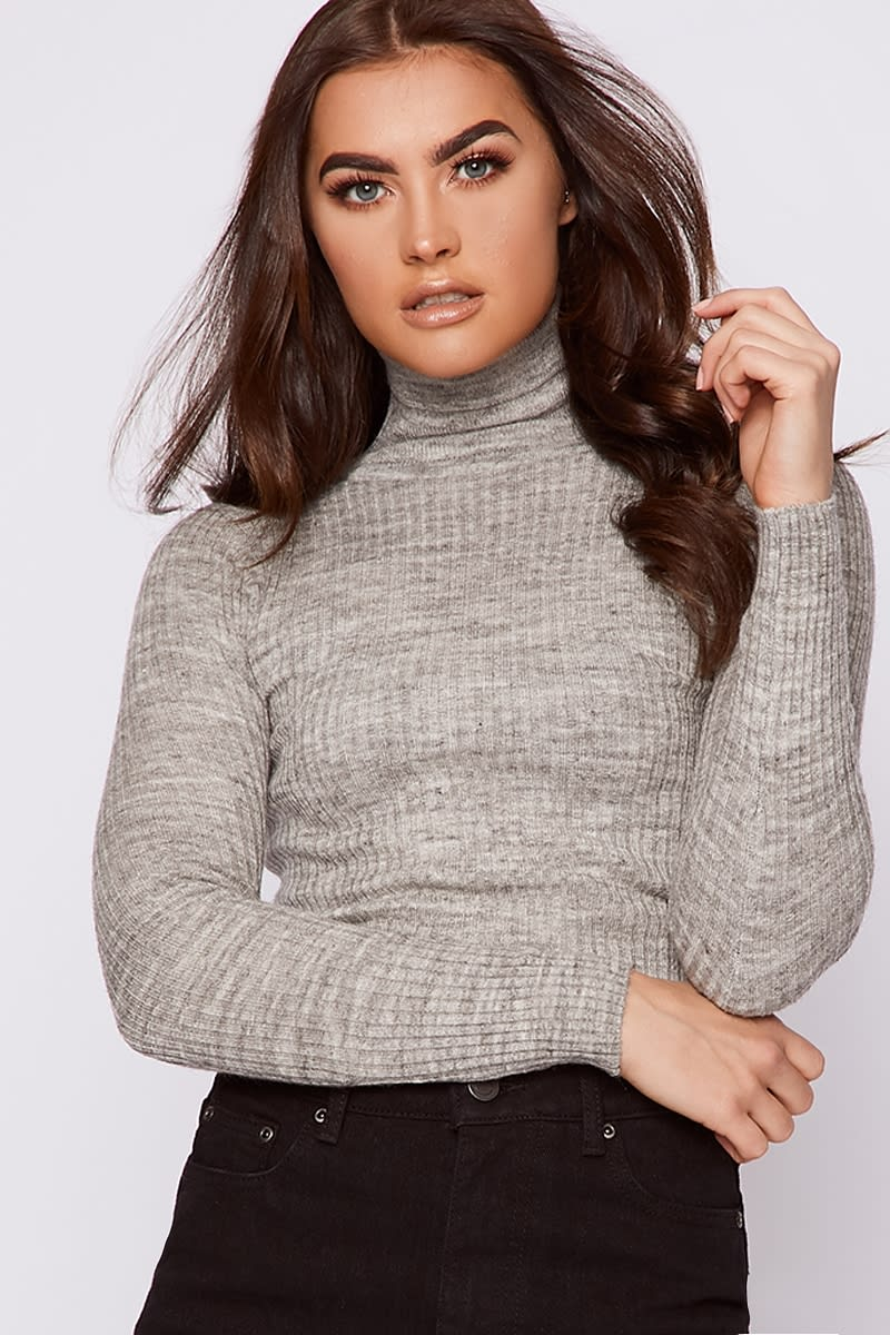 grey ribbed knit turtle neck jumper