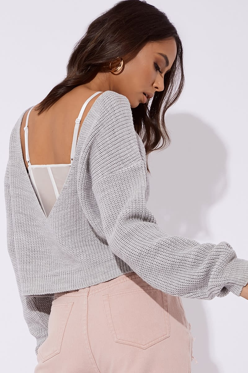 grey v plunge back knitted jumper