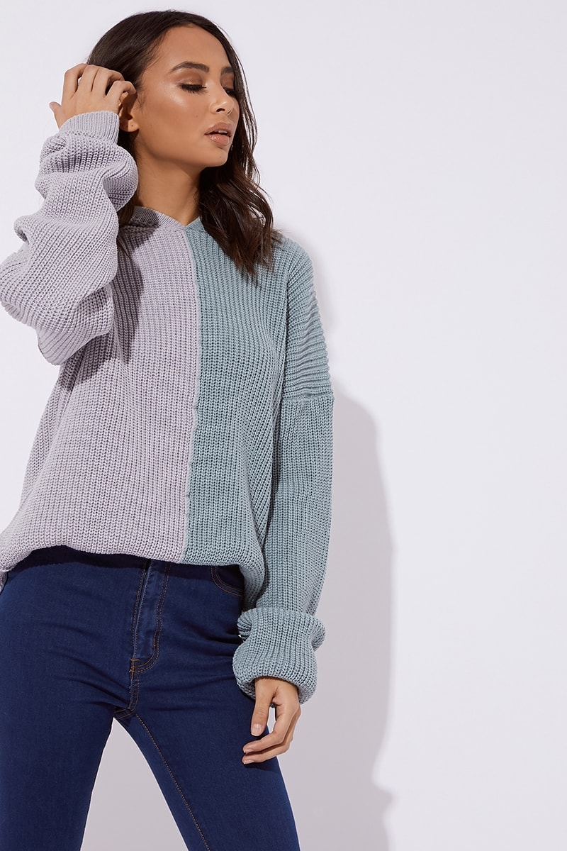 blue contrast rib knitted hooded jumper