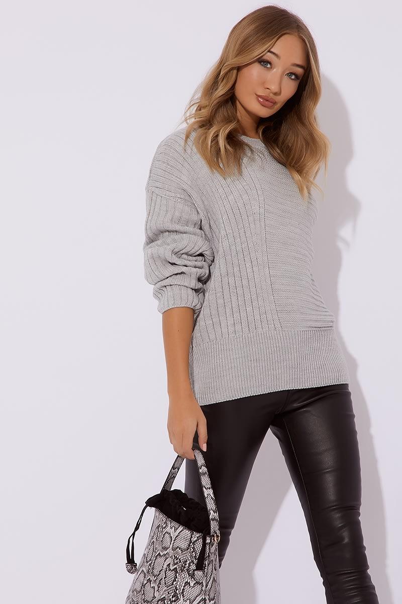 grey asymmetric rib knitted jumper